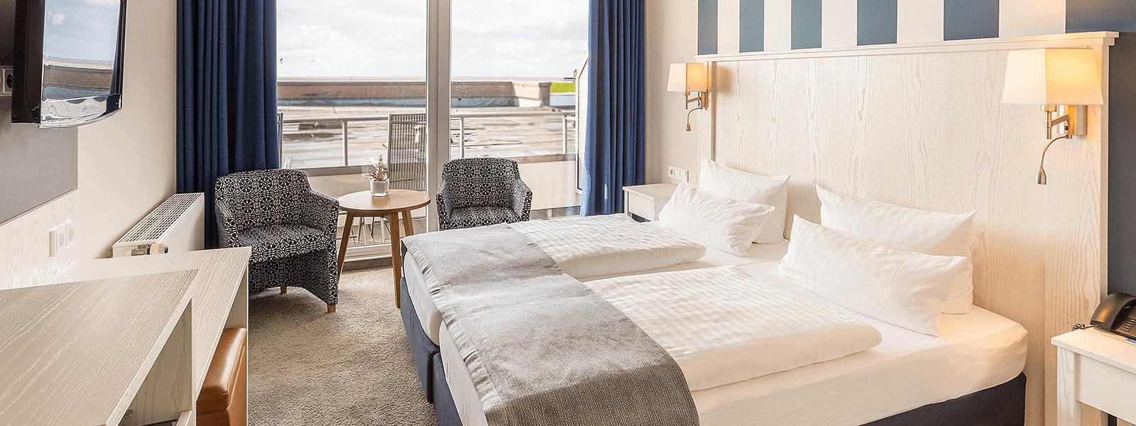 Doppelzimmer mit Meerblick Hotel Regina Maris, Hotel Regina Maris, Norden-Norddeich, Nordsee, Ostfriesland, Urlaub zu Zweit, Nordseeurlaub, Urlaub am Meer,